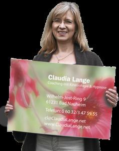 Claudia Lange - Portrait mit Visitenkarte